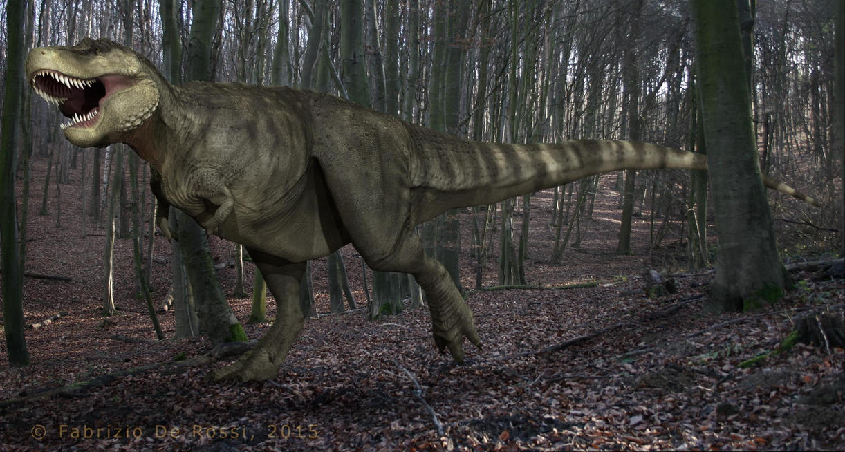 Tyrannosaurus posing and background test by FabrizioDeRossi