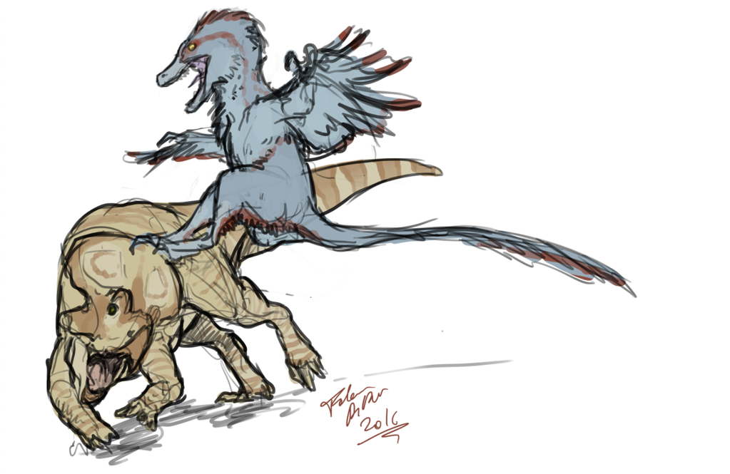 Jump kick! - Velociraptor hunting by FabrizioDeRossi