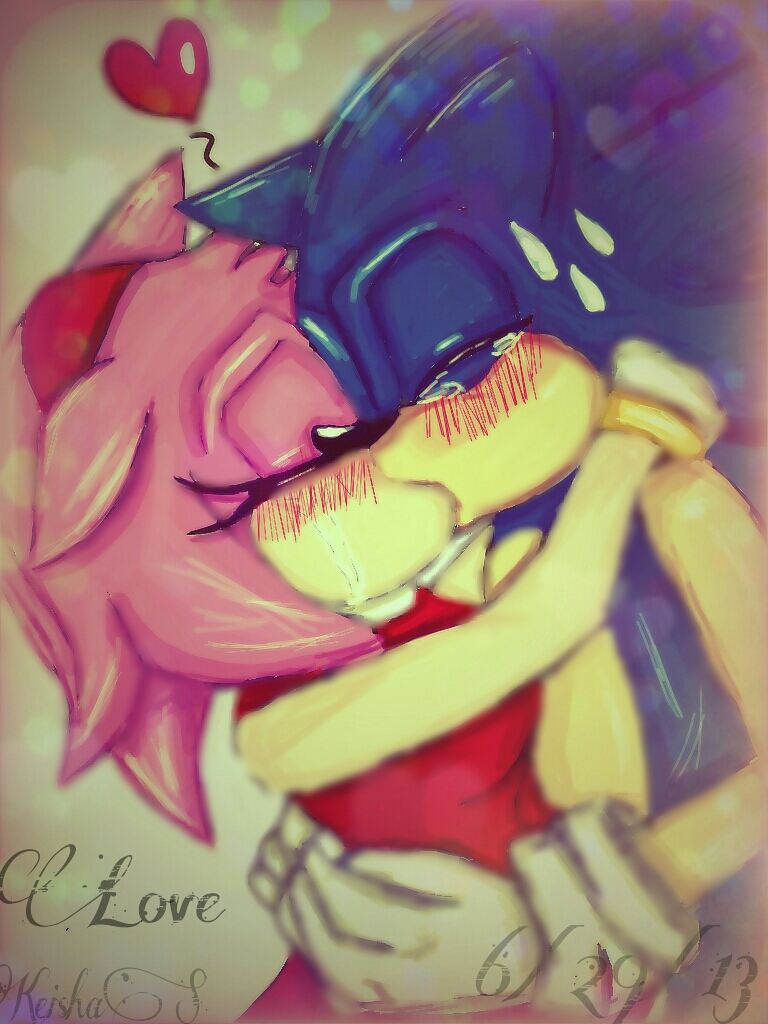 SonAmy Kiss by peachy15