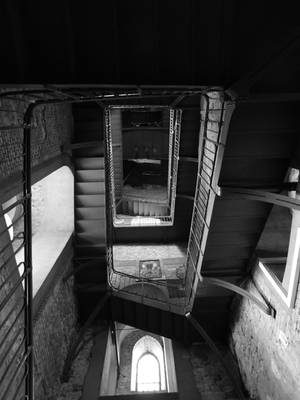 Tower Stairs B and W by evangeline40003