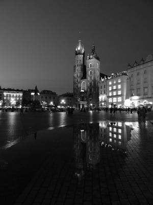 Krakov Reflections in the Night by evangeline40003