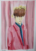 Jungkook Pink Watercolor by evangeline40003