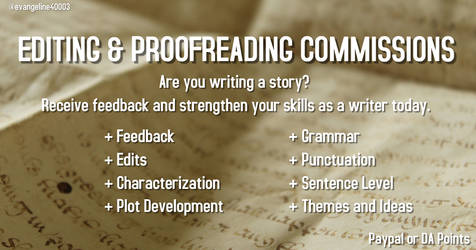 Editing and Proofreading Commissions OPEN