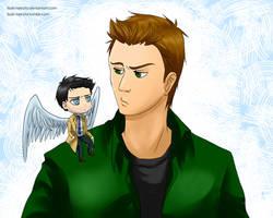 Dean and little Cas by Vivalski
