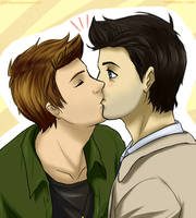 Destiel - Kiss by Vivalski