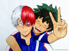 Tododeku Peace Sign (Colored) by fantasydreamtima