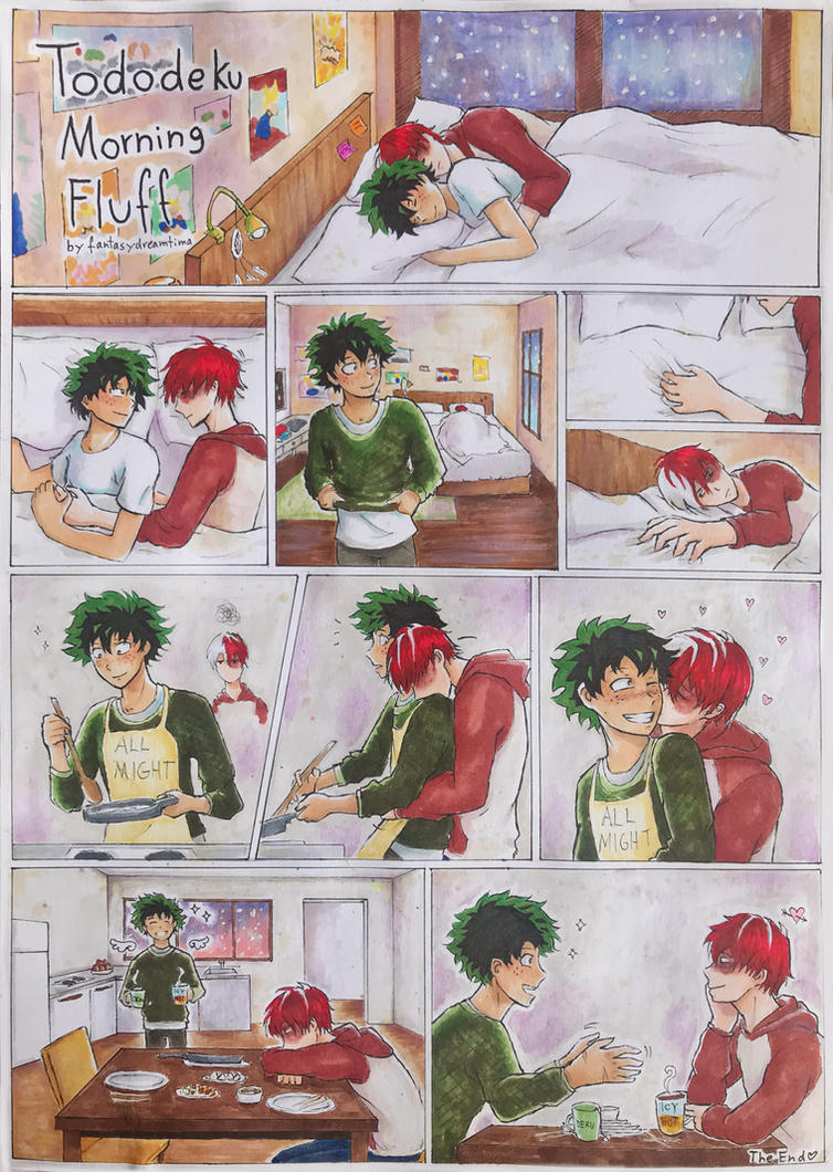 tododeku morning fluff  colored  by fantasydreamtima on deviantart