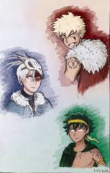 [Tribal AU] My first sketches by fantasydreamtima