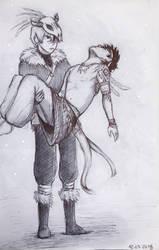 [Tribal AU] Lost Boy (sketch) by fantasydreamtima