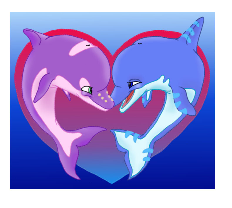 It is an image of Soft Dolphin Heart Drawing