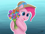 Pinkie went flower picking in spring