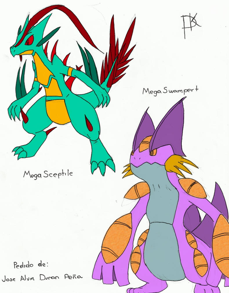 Mega-Sceptile and Mega-Swampert (Shiny)(Fakemon) by ...