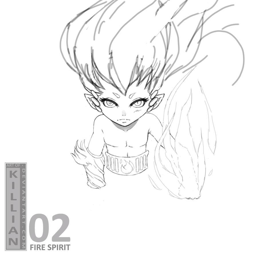 DS - Fire Spirit - Sketch by ArtofKillian