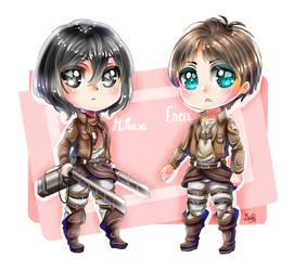AoT Chibi Mikasa and Eren by iErenaChan