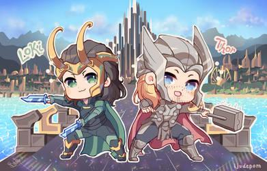 Chibi Thor w Loki