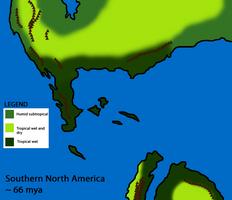 Southern North America, 66 mya