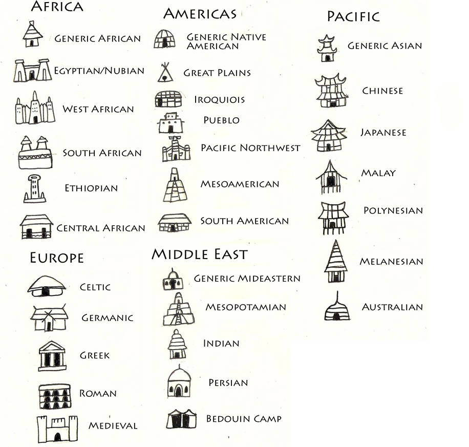 Culturally Diverse City Icons for Cartography by TyrannoNinja