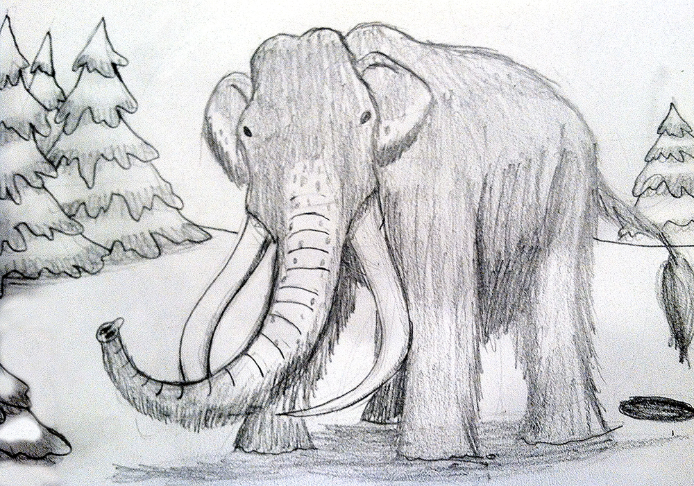 how to draw a wooly mammoth head