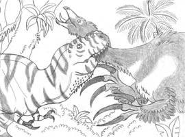 Tarbosaurus Attacks Therizinosaurus by TyrannoNinja