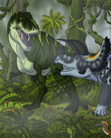 A Classic Cretaceous Clash by TyrannoNinja