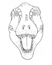 T. rex Head On by TyrannoNinja