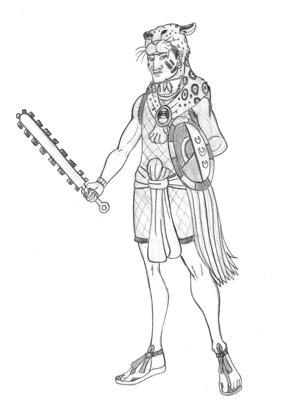 Aztec Jaguar Warrior Sketch By Tyrannoninja On Deviantart