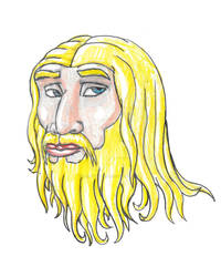 Neanderthal Face in Colored Pencil