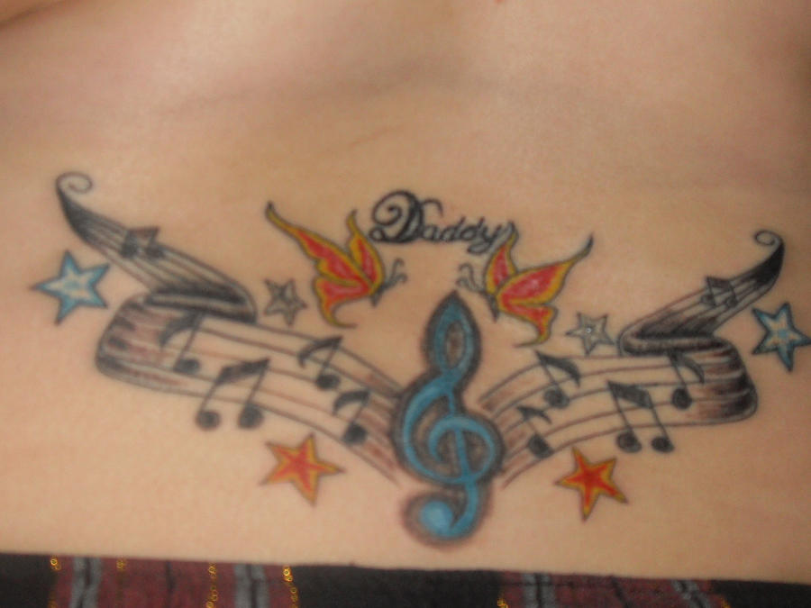 4202acb38 Daddys butterfly music tattoo by tllgamer16 on DeviantArt