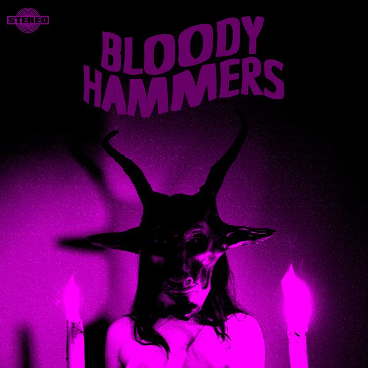 Baphomet mask on Bloody Hammers album cover by atomagedevilman