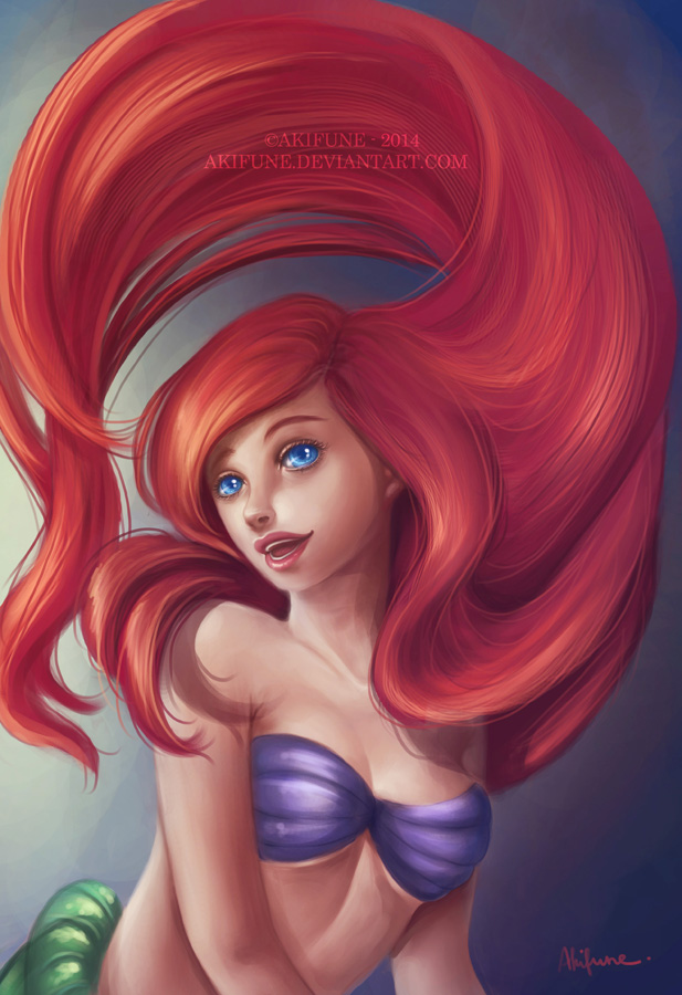 Ariel Plays with the Hair by akifune