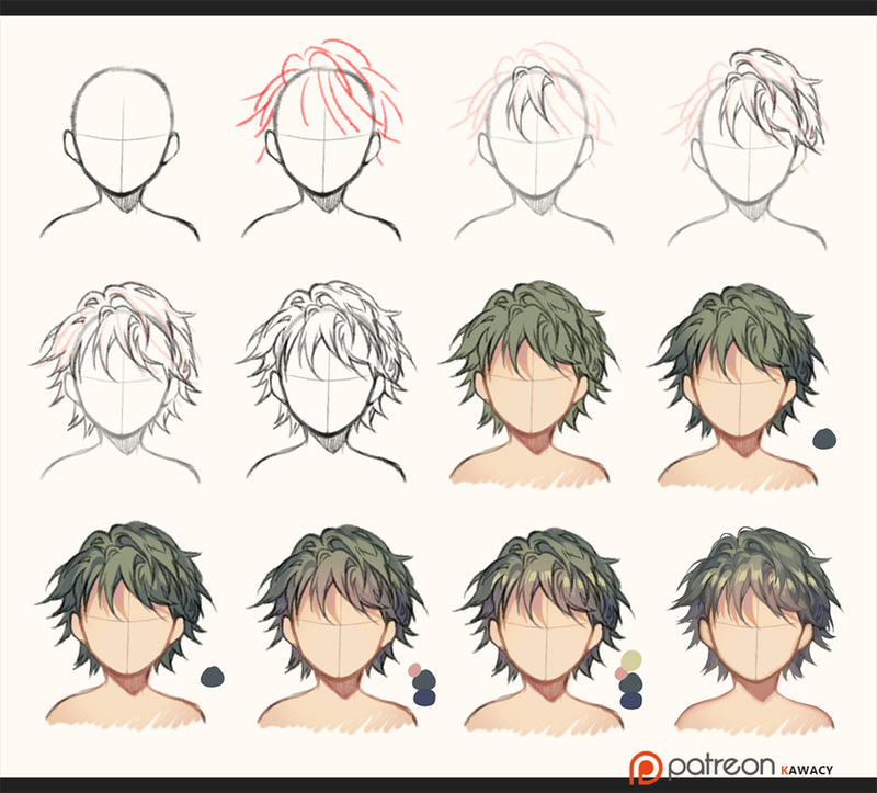 Hair - sketch to coloring by kawacy on DeviantArt