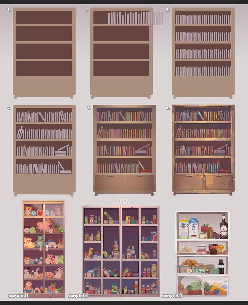 How to draw a Bookshelf