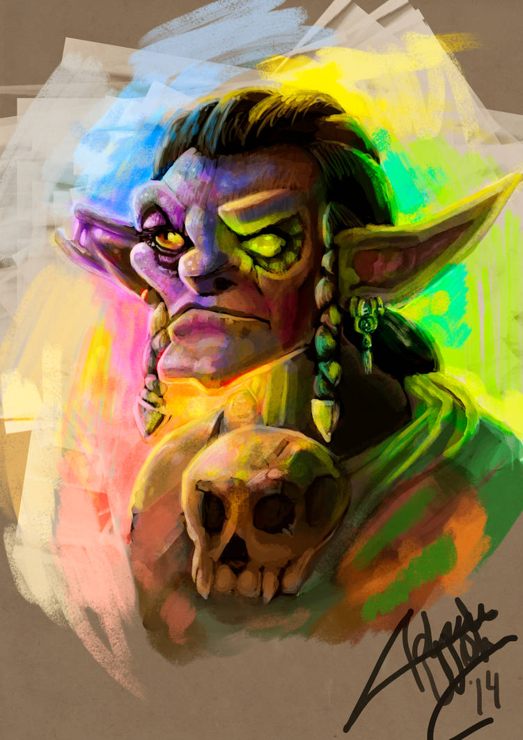 Goblin portrait + process by Adrian Wolve
