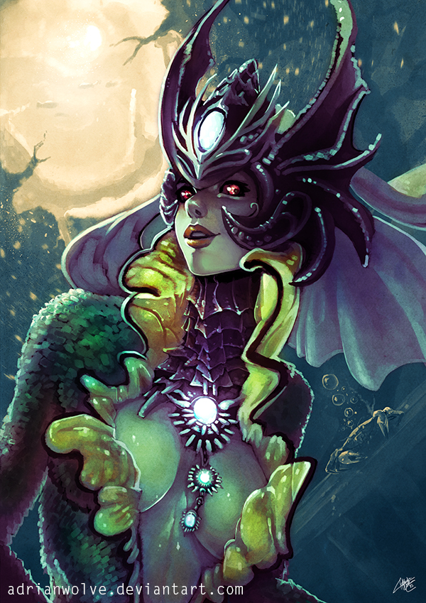 Nami, the tidecaller. League of Legends Fan Art. by AdrianWolve