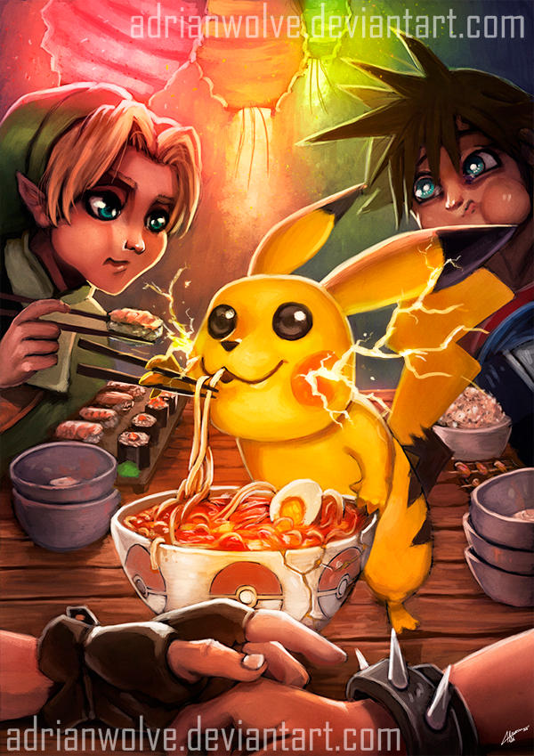 Pikachu - Sushi Nights. Pokemon Fan Art