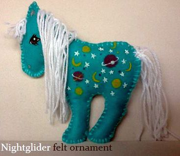 My little Pony G1 felt Nightglider ornament by BerryMouse