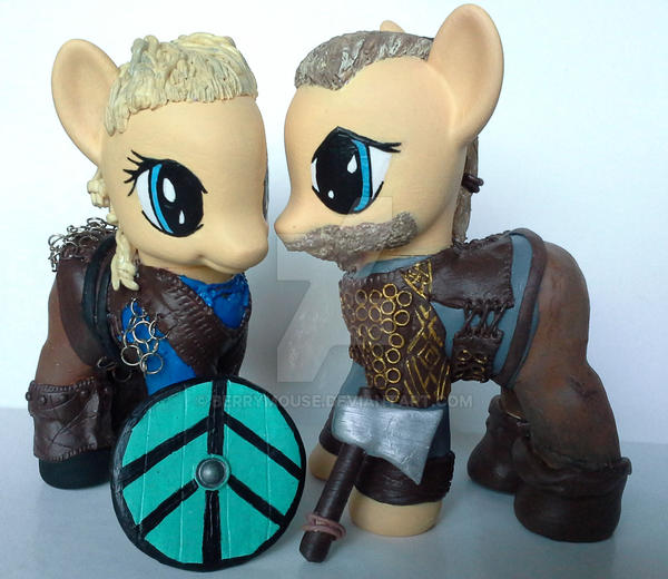 My little Pony Custom Vikings Lagertha + Ragnar by BerryMouse