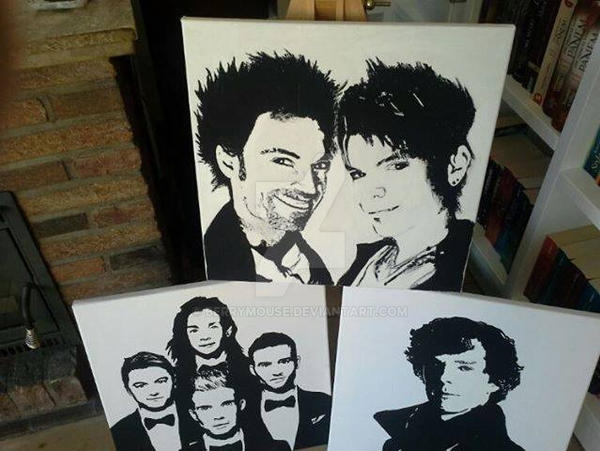 Black and White paintings Collabro, Sherlock etc. by BerryMouse