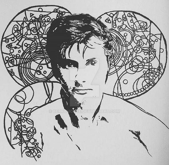 Black and white painting David Tennant 10th Doctor by BerryMouse