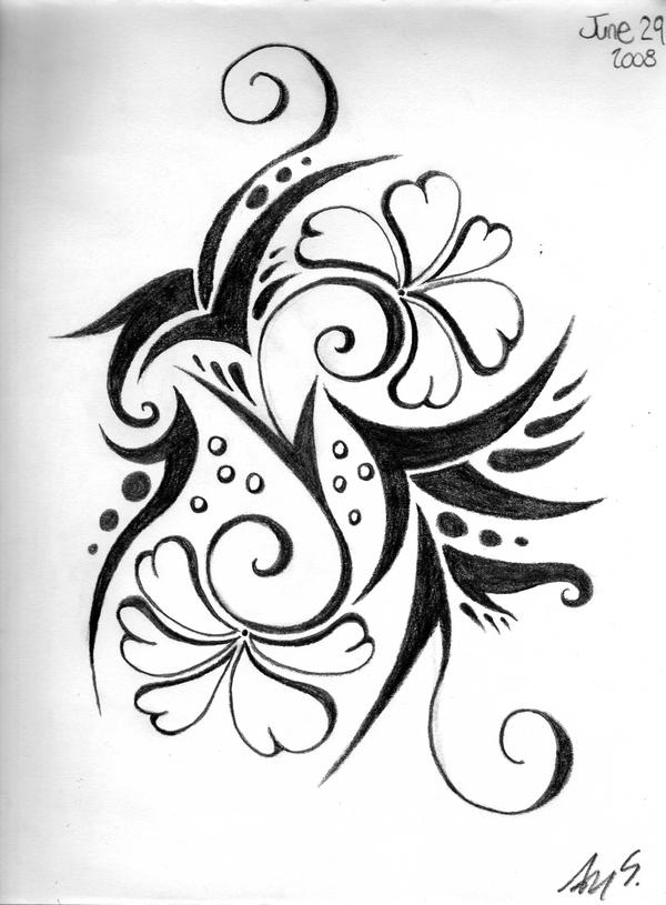 Floral-Tribal Design by tAnGeRiNeGuItArPiCk
