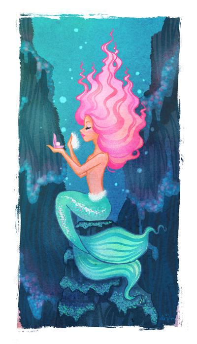 Pink Haired Mermaid by SwissDutchess