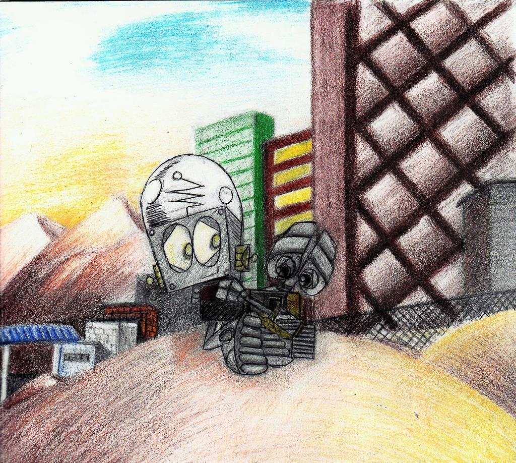 Robot and WALL-E Hug by kartoonfanatic
