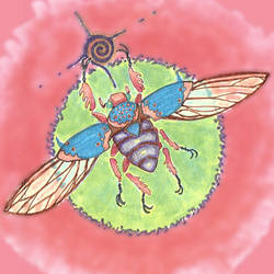 day-glo beetle by euphorbic