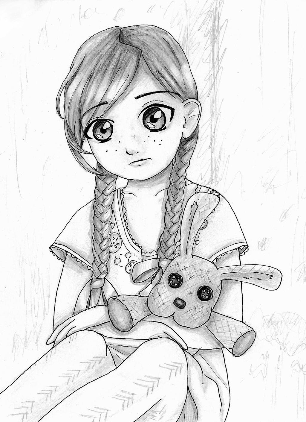 Sketch Of A Girl Sitting Alone   Www.imgkid.com - The Image Kid Has It!