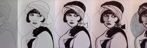 step-by-step of Louise Brooks portrait
