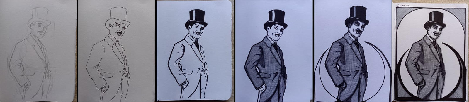 step-by-step of Max Linder portrait
