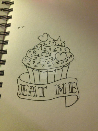 'Eat Me' Cupcake (Tattoo Flash) by MissKantaris on DeviantArt | 400 x 534 jpeg 62kB