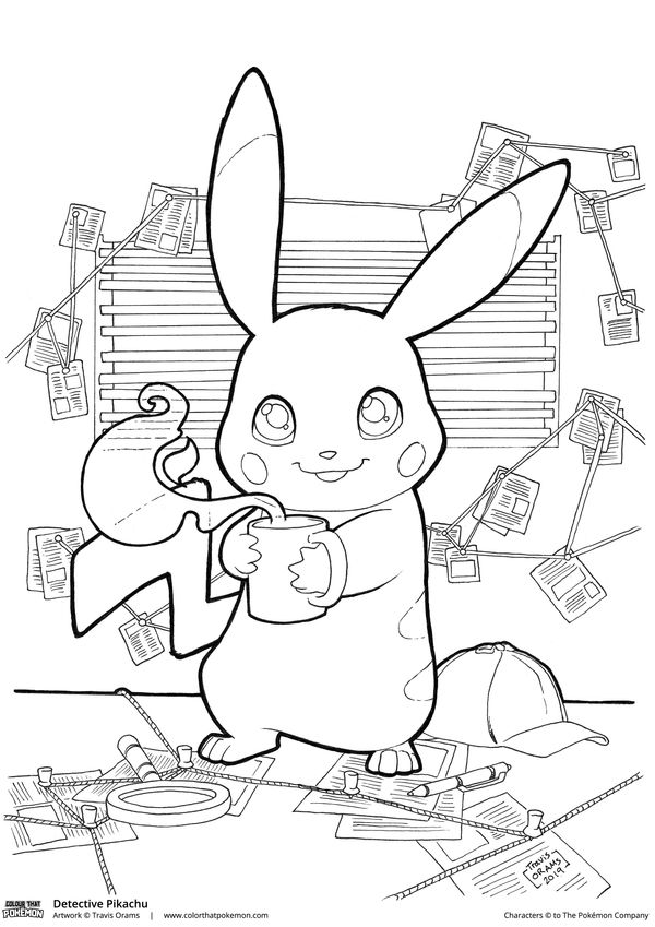 Detective Pikachu Coloring Page by travisorams on DeviantArt