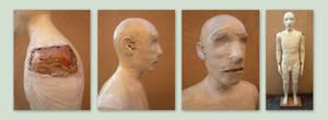 Masking tape man, 4 views
