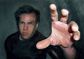 Self Portrait, reaching down by Art-of-Eric-Wayne